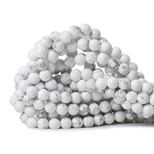 Qiwan 45PCS 8mm Gorgeous Natural White Howlite Round Beads Gemstone Loose Beads for Jewelry Making 1 Strand 15""