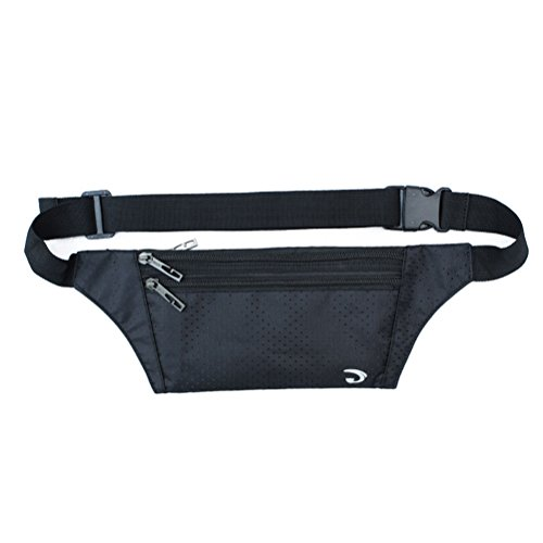 White Cloud Ultrathin Casual Outdoor Sport Polyester Stealth Flat Running Travel Waist Fanny Bag Pack Black