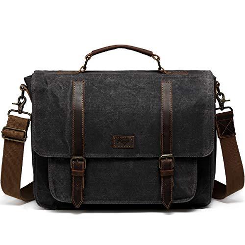 Messenger Bag for Men, Kasqo Water Resistant Waxed Canvas Leather Briefcase Fits 15.6 inch Laptop Vintage Business Satchel for Men Shoulder Bag with Removable Strap