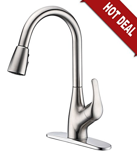 Purelux Tulip Single Handle Contemporary Design Arc Pull Down Kitchen Sink Faucet With Deck Plate, 3 Spray Pull Out cUPC NSF AB 1953 Lead Free Certified, Brushed Nickel 5 YEAR WARRANTY (Budget Kitchen Faucet 1 Hole)