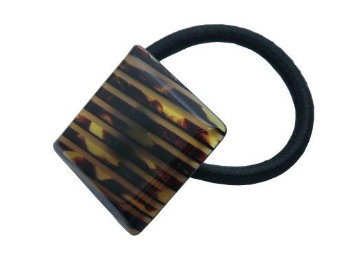 - Charles J. Wahba Mini Square Ponytail Holder - Striped Tort