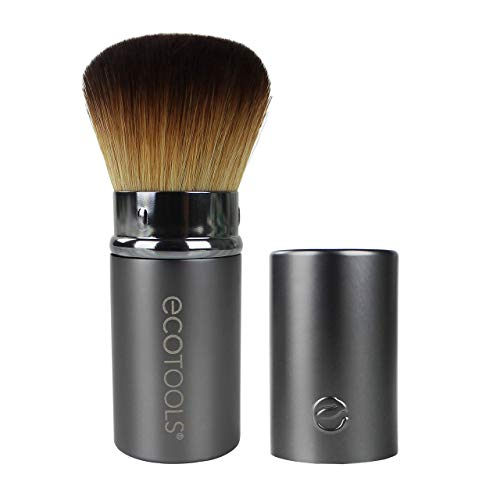 EcoTools Retractable Kabuki Travel Foundation Brush for Blush Bronzer & Powder (Color may vary) (Best Way To Wash Makeup Brushes)