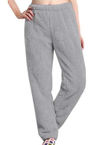 Nulibenna Womens Knitted Casual Soft Sleep Lounge Pants Loose Fluffy Fuzzy Pajama Pants Grey