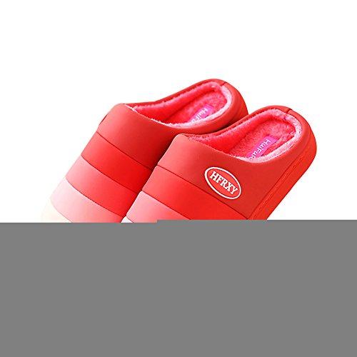 Hevinle Lavabile Casa Calda Donna Pantofole Signore Scivolano Sul Rosso