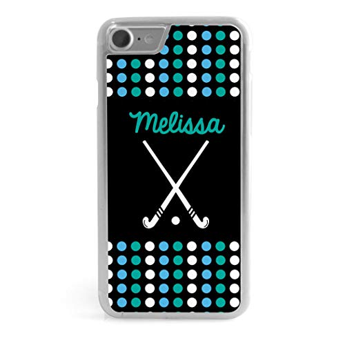 Custom Field Hockey iPhone 7/8 Case | Personalized Name with Dots | Black (Hockey Iphone Personalized)