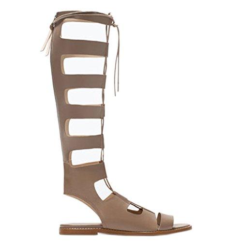 HnB Women's Retro Lace Up Flat Knee High Gladiator Sandal (Beige 38)