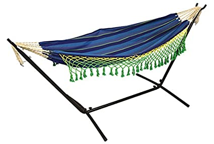 Hang It The Hammock Store Double Canvas Hammock With 9ft Steel Hammock Stand ,Ocean Blue