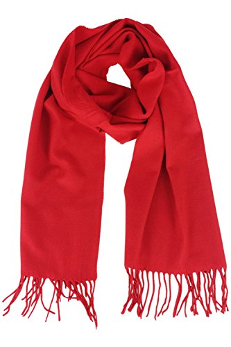Jastore Kids Girls Boys Warm Winter Soft Cashmere Blanket Scarf Tassel Shawl Scarf (Red)