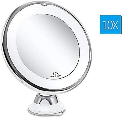 ライトLEDミラー付きの光でライトアップ10倍拡大鏡LEDメイクアップミラー柔軟なバニティミラー