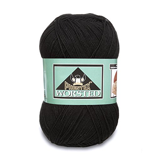 Phentex Worsted Yarn, 14 Ounce, Black, Single Ball