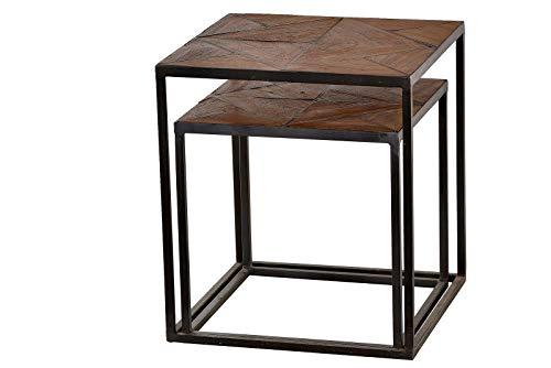 Cross teca reciclada Acero–Mesa auxiliar madera lacado natural, Metal Envejecido gris