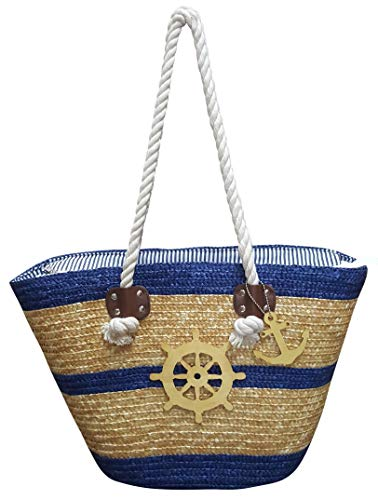 - Beach Bags - Water Resistant Large Straw Beach Bag Tote with Top Zipper Closure