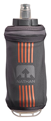 Nathan Grip Running Soft Flask BPA Free Water Bottle with Pocket, Steel Grey, 18 oz