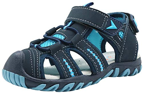 Apakowa Kid's Boy's Soft Sole Close Toe Sport Beach Sandals (Toddler/Little Kid) (Color : Blue, Size : 9.5 M US Toddler)