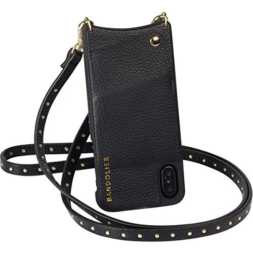 Bandolier [Nicole] Phone Case with Strap Compatible w/iPhone 8, 7 & 6 - Dual Card Slot Wallet, Golden Details & Crossbody Adjustable Handsfree Shoulder Purse Belt. Leather Protection & Hard-Shell.