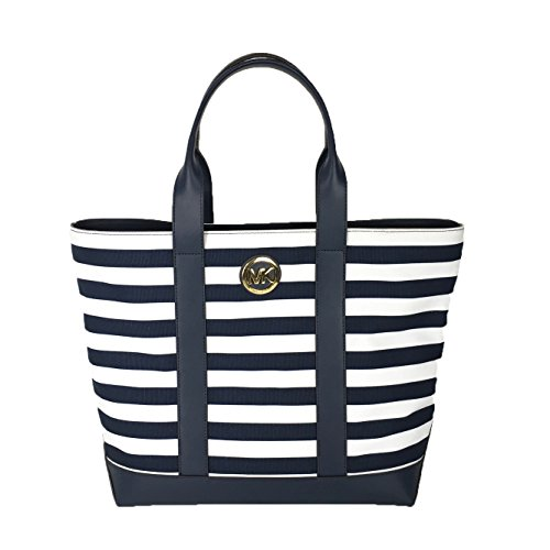 Michael Kors Fulton Striped Canvas Large Tote, - White Blue And Navy Handbag Michael Kors