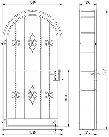 Gartentor Komplett-Set Rosenbogen inkl Gartentor Metalltor Luna 1060 x 2150 x 300 mm