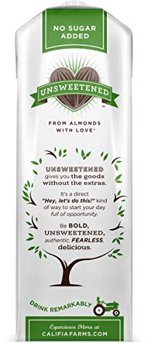 Califia Farms Shelf Stable Unsweetened Almondmilk, Dairy Free, Whole30, Keto, Vegan, Plant Based, Nut Milk, Non-GMO, 32 Fl Oz, Pack of 6