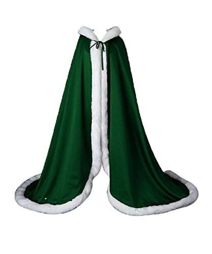 Ld Manteau Dames De Mariage Châle À Capuchon Écharpe Manteau Cape Cape Avec Des Capes De Faux Mariée De Luxe Avec Une Longueur De Chapeau Différent Vert