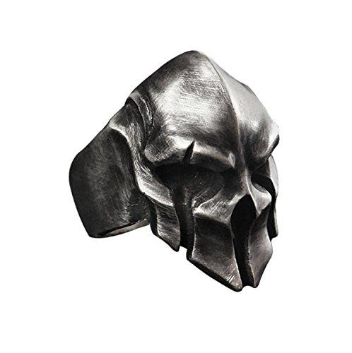 WOOGGE Men's Gothic Biker Punk Vintage Ring Spartan Mask Helmet Nordic Pagan Triskele Helm Adjustable Viking Rings (Antique Tin)