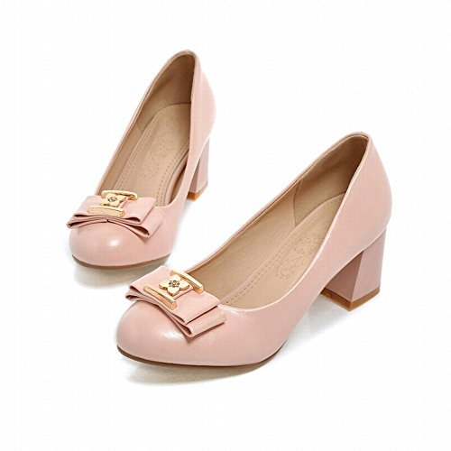 Shoes Latasa Chunky Pink Fashion heel Mid Bow Pumps Flower Dress Womens WxZzrOxT4