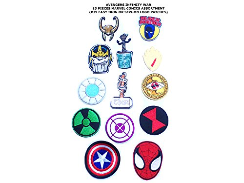 Superheroes Brand 13-Set Avengers Infinity War Logo's Marvel Comics MoviesTheme DIY Iron or Sew-on Decoarative Applique Patch by Superheroes Brand