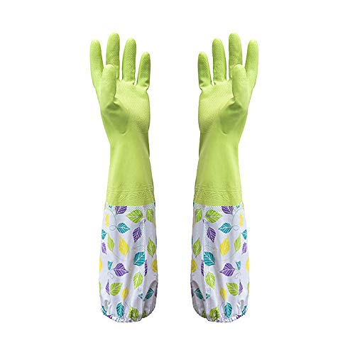 Hot Sale!DEESEE(TM)Waterproof Rubber Latex Flannel Washbowl Gloves Kitchen Household Cleaning Gloves (Green)