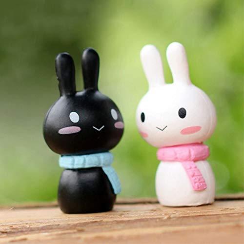 Teddy Ceramic Collectible (Couple Ornaments - A Pair 1.4 2.6cm Mini Cute Doll Couple Ornaments Small Rabbit Figurine Miniature Fairy Garden - Couple Shui Large Collectibles Resin Figurine Home Planter Ornaments Decorative)