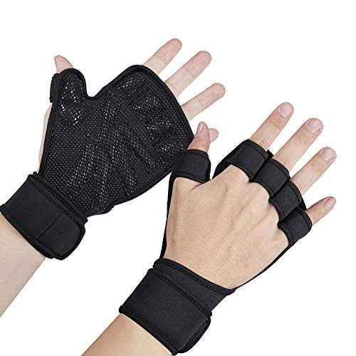 Weight Lifting Gloves ,Workout Gloves Ventilated Full Palm Protection with Wrist Wrap Support Non-Slip Palm Silicone for Pull Ups, Cross Training, Fitness, WODs & Weightlifting Suitable Women Men