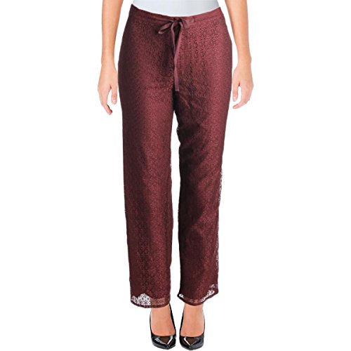 Anne Klein Womens Lace Overlay Flat Front Casual Pants Red ()