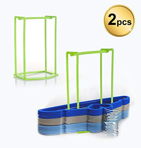 Standing Clothes Hanger Stacker Holder, 2 pcs Drying Rack Caddy Premium Grade PP for Tidier Laundry Room Closet Organizer, Large Capacity Hold Up to 30 Hangers with Manual for Installation ()