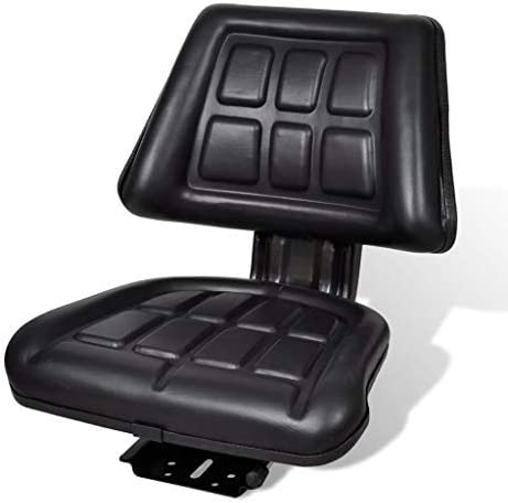Heitamy Tractor Seat Universal Forklift Tractor Seat Excavator Seat with Backrest Black