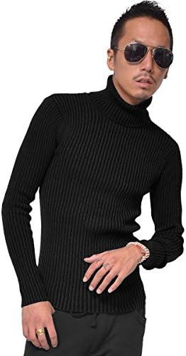 ジョーカーセレクト(JOKER Select) タートルネック Vネック ニット セーター メンズ リブ編み 無地 秋 冬