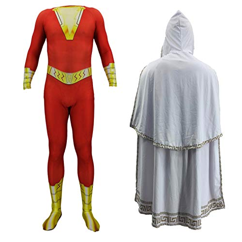 Gesikai01 Adults Kids Superhero Lycra Spandex Cosplay Costumes 3D Printed Zentai Jumpsuit Bodysuits (Kid-X-Large(Height:130-140cm), Clothes with Cloak)]()