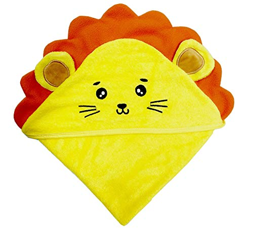 SWEET DOLPHIN Baby Hooded Bath Towel (Lion, 37.5×37.5 INCH)
