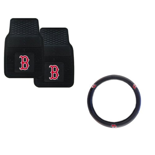 A set of 3 Piece Automotive Gift Set: 2 Front All Weather Floormats and 1 Wheel Cover - Redsox