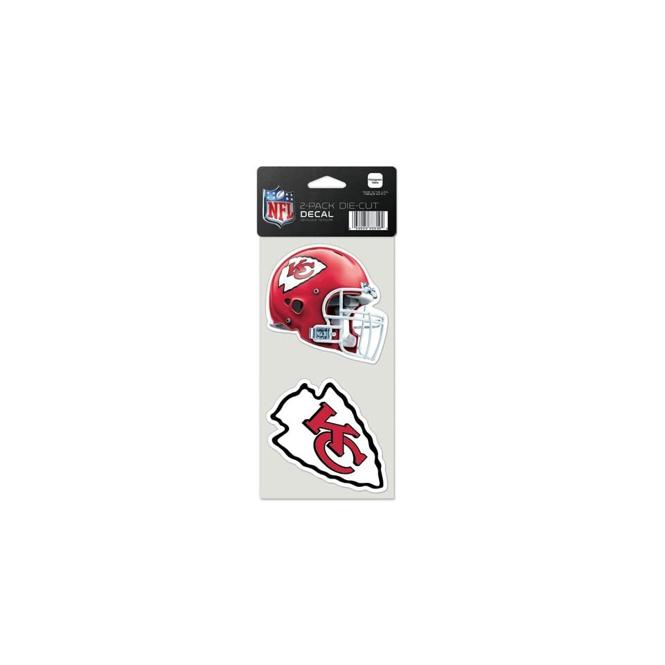 Diecutdecaltwo Kansas City Chiefs 4 Inch Die Cut Decal Set of Two Nfl Fan National Football League American Game Decoration Accessories