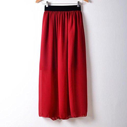 longue haute tendue Taille Rouge clair Plaine Jupe Pliss Kingwo Fille Jupe qwaUzU