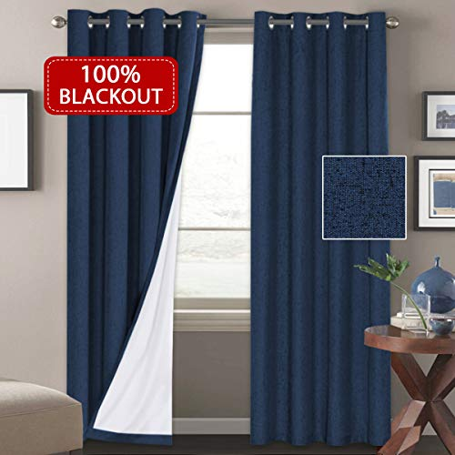 H.VERSAILTEX Navy 100% Blackout Linen Textured Curtains for Living Room/Bedroom Thermal Insulated 100% Blackout Curtains Water Proof Anti Rust Grommet Window Panels(Sold by Pair, 52 x 108 Inch)