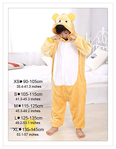 Winter Children Party Costumes for Kids Funny Onesies Cartoon Sleepwear Winter Warm One Piece Soft Animal Pajamas Rilakkuma XL