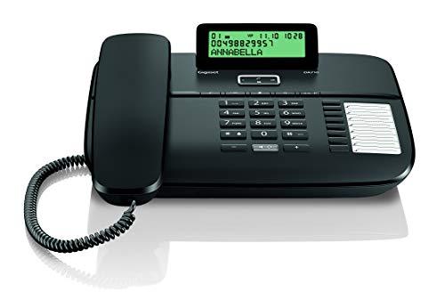 Gigaset DA710 - Telefono Fijo con Cable Manos Libres, Pantalla de Posicion Ajustable, Color Negro