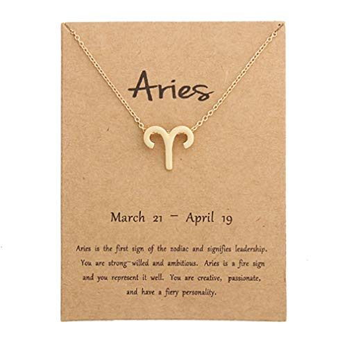 Aries Zodiac Pendant - TMROW Aries Necklace Message Card 12 Constellations Necklace Women Jewelry 12 Zodiac Sign Tag Pendant Necklace Birthday Gifts