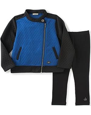 Baby Girls' Color Block Jacket with Leggings Set