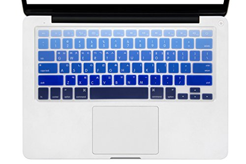 HRH Ombre Blue Korean Language Keyboard Cover Silicone Skin for MacBook Air 13 and MacBook Pro 13