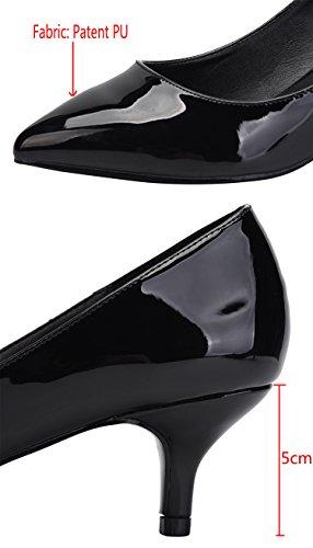 Camssoo Kitten Talons Pour Les Femmes Slip Classique Sur Les Chaussures À Pointe Pointue Pompes Chaussures Noir Pu