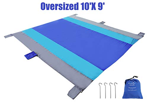 Exclusivo Mezcla 9'x 10' Extra Large Portable Outdoor Beach Blanket/Mat(Royal Blue)- Sand Free, Waterproof& Quick Dry for Picnic, Camping and Hiking| 6 Weightable Pockets and 4 Anchor Stakes
