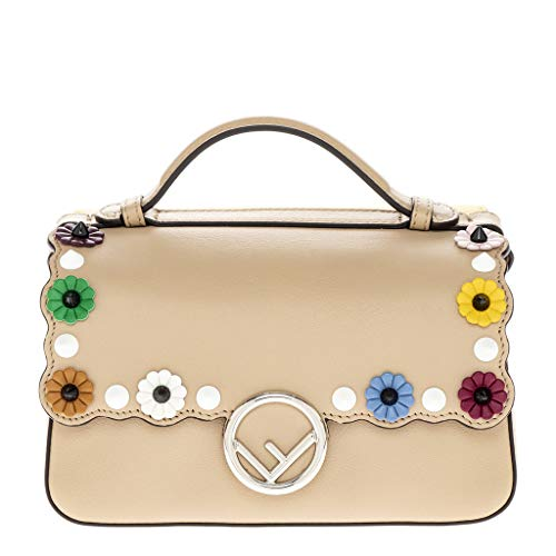 Fendi Women's Double Micro Baguette with Flower Studs Brown