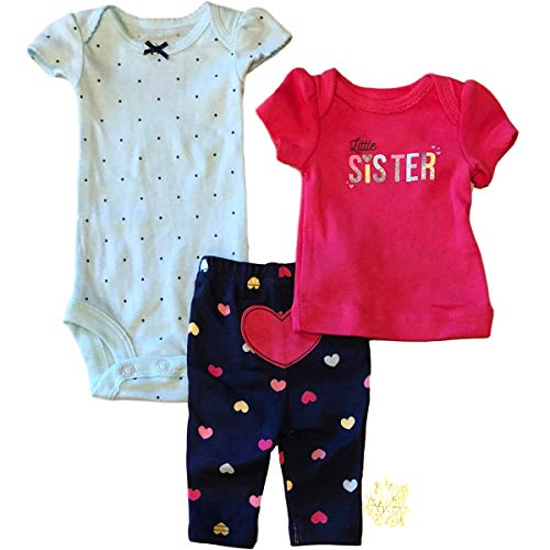 Child of Mine Baby Girl Preemie Shirt, Bodysuit & Pants, 3pc Outfit Set (Pink Little Sister) ()