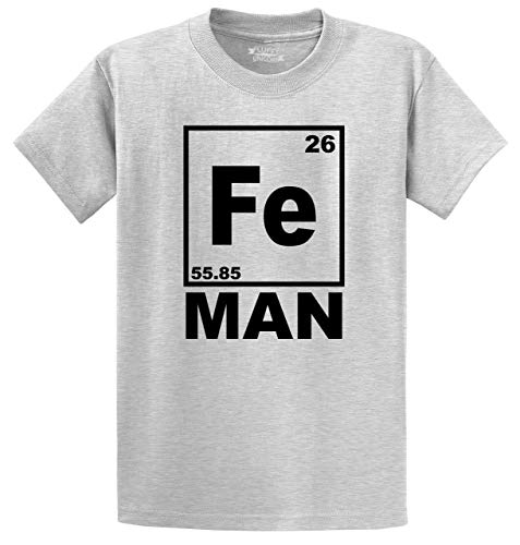 Men's Heavyweight Tee Fe Man Funny T Shirt Iron Man Chemistry Periodic Table Ash Grey 4XL ()