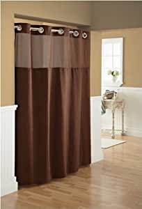 Hookless Fabric Diamond Pique Shower Curtain with Snap-In Liner, Brown